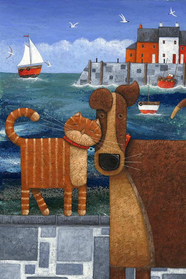 Pets By The Sea Naive art, Art, Sea art