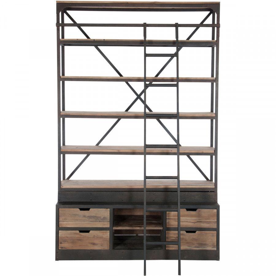Verwonderlijk Kast Bieb met ladder - Kast hout metaal, Ladder en Hout EK-78