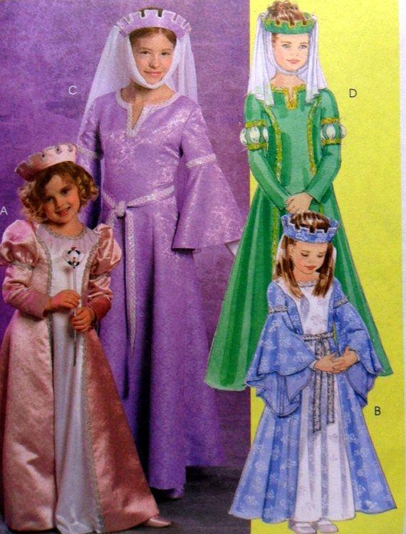 McCalls 5207 Girls Medieval Dress Costume, Princess Costume ...