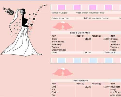 Free Wedding Budget Worksheet In Printable Excel Format