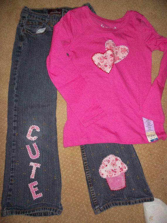 girls Custom iron on applique Valentine's Day by tinatownley15066, $21.00