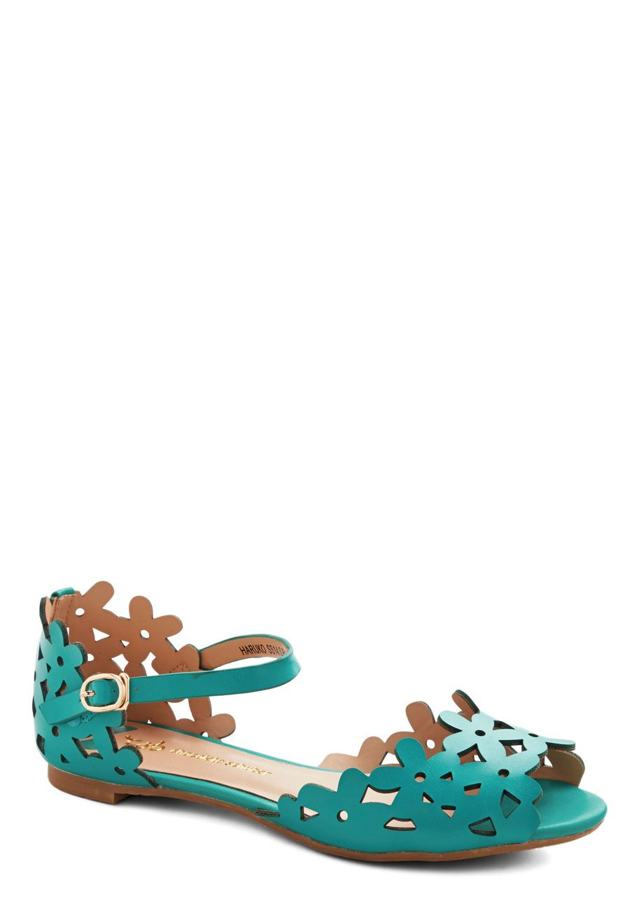 Prancing Through the Petals Sandal in Teal. As soon as new blooms start to take over your favorite meadow, buckle on these teal floral flats and head out! #blue #modcloth