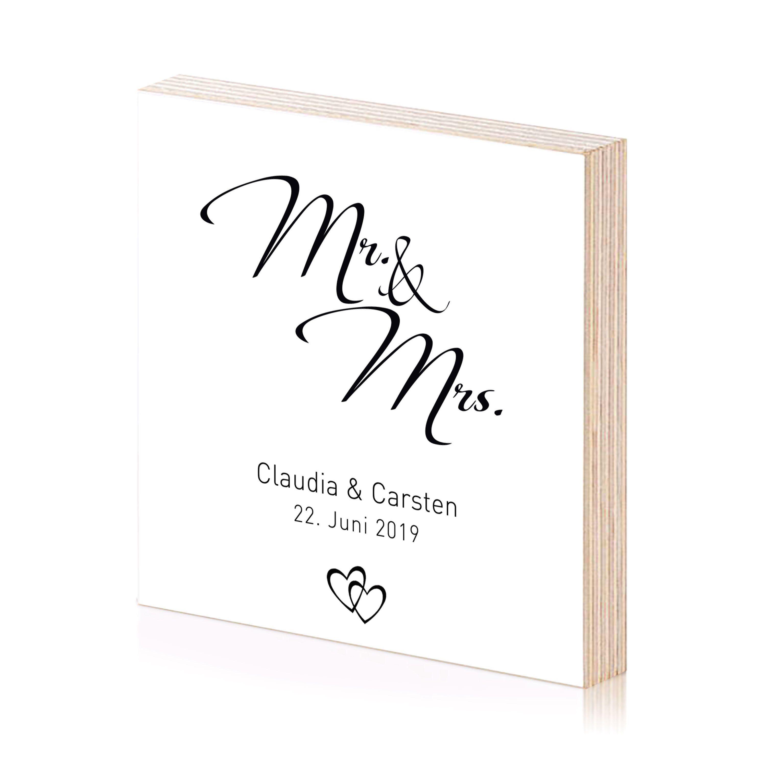 Mr. & Mrs. Kunstdruck einzigartiges Holzbild zum