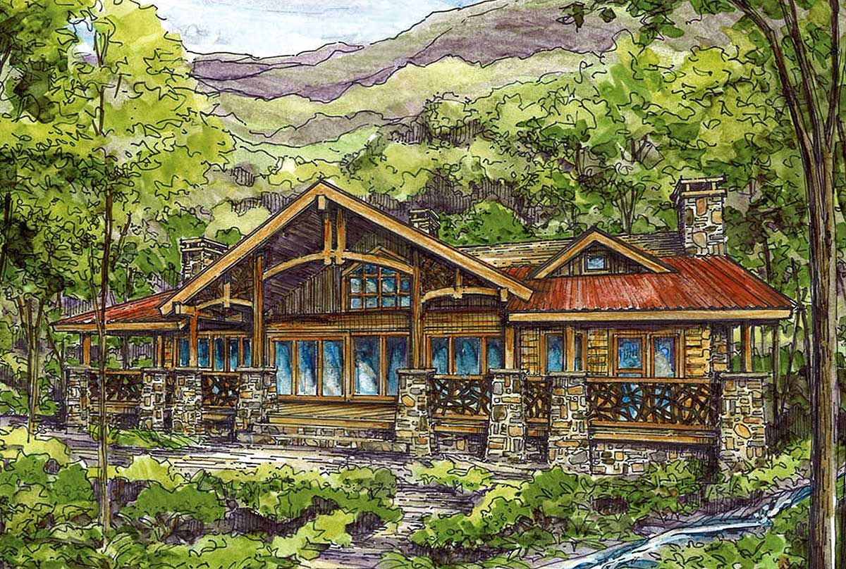 Plan 13305ww log home plan with twin master suites logs for Mountain vacation home plans