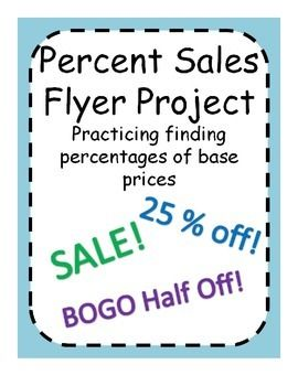 Percent Sales Flyer Project Practice Finding Percentages Sale Flyer Math Lessons Flyer