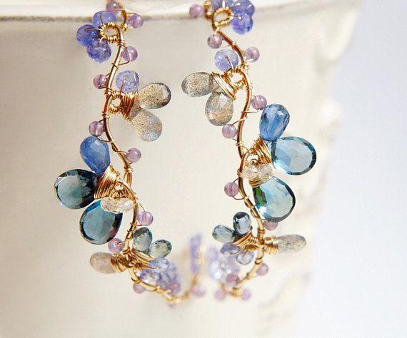 Photo of London Blue Topaz Statement Earrings, Flower Vine Wedding Earrings, Large Earrings, Nature Inspired Jewelry