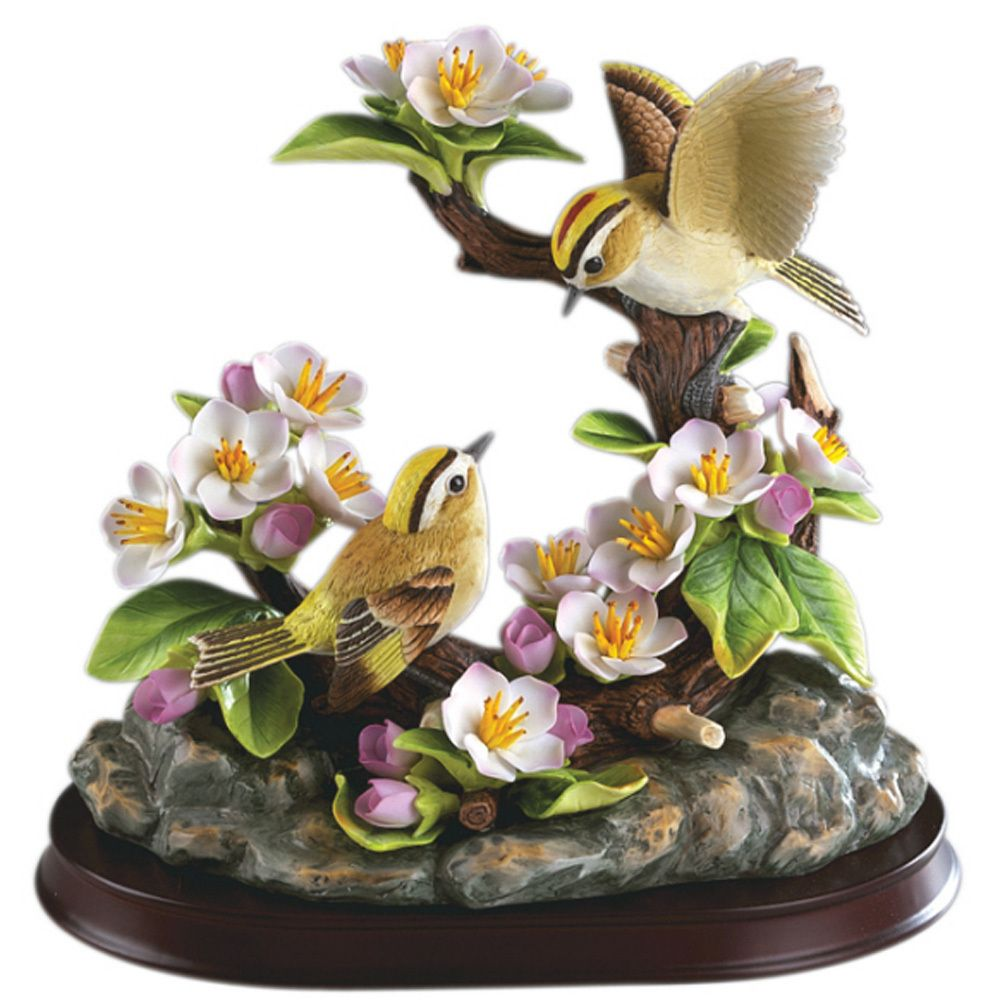 """Candabean Collectibles  - Andrea SADEK 8.5"""" Golden Crowned Kinglet Family w/Base, $80.00 (http://www.candabeancollectibles.com/andrea-sadek-8-5-golden-crowned-kinglet-family-w-base/)"""