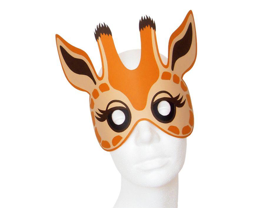 giraffenmaske zum selbst basteln aus fotokarton und. Black Bedroom Furniture Sets. Home Design Ideas