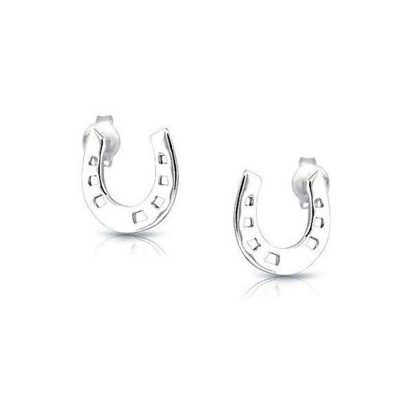Bling Jewelry 925 Sterling Silver Equestrian Horseshoe Stud Earrings 15