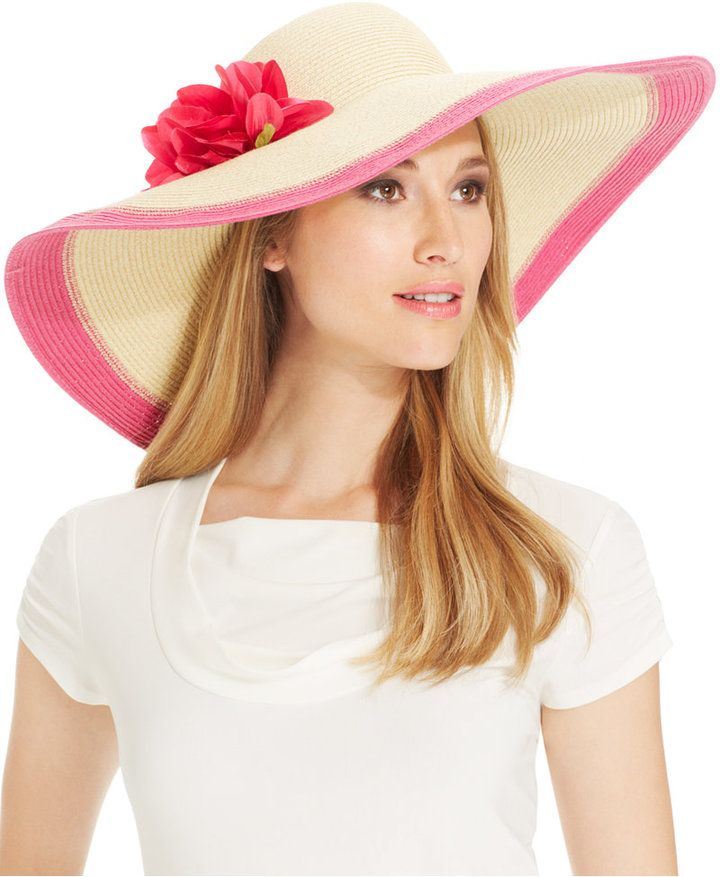 b747dfc0f80996 Nine West Packable Two Tone Super Floppy Hat with Flower on shopstyle.com
