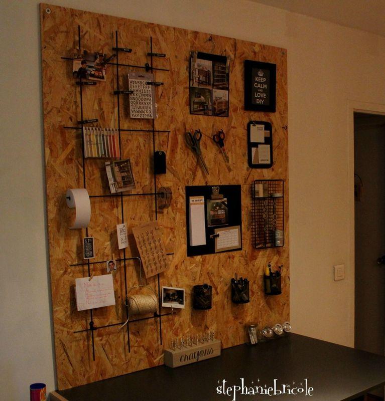 diy d co rangement panneau mural en osb diy deco rangement osb et panneaux muraux. Black Bedroom Furniture Sets. Home Design Ideas
