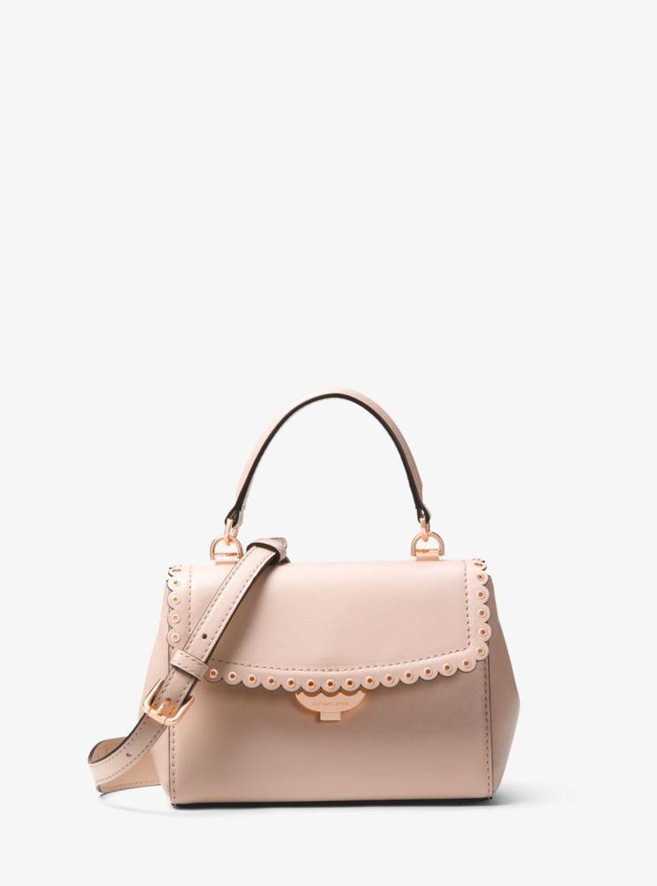 6308200b5439 Michael Kors Ava Purse Extra Small Scalloped Crossbody Soft Pink Rose Gold   228