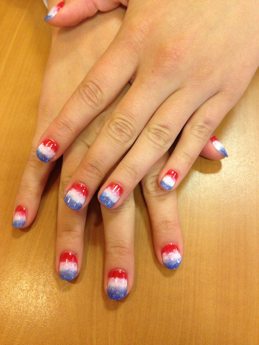 4th of July gel ombre nails