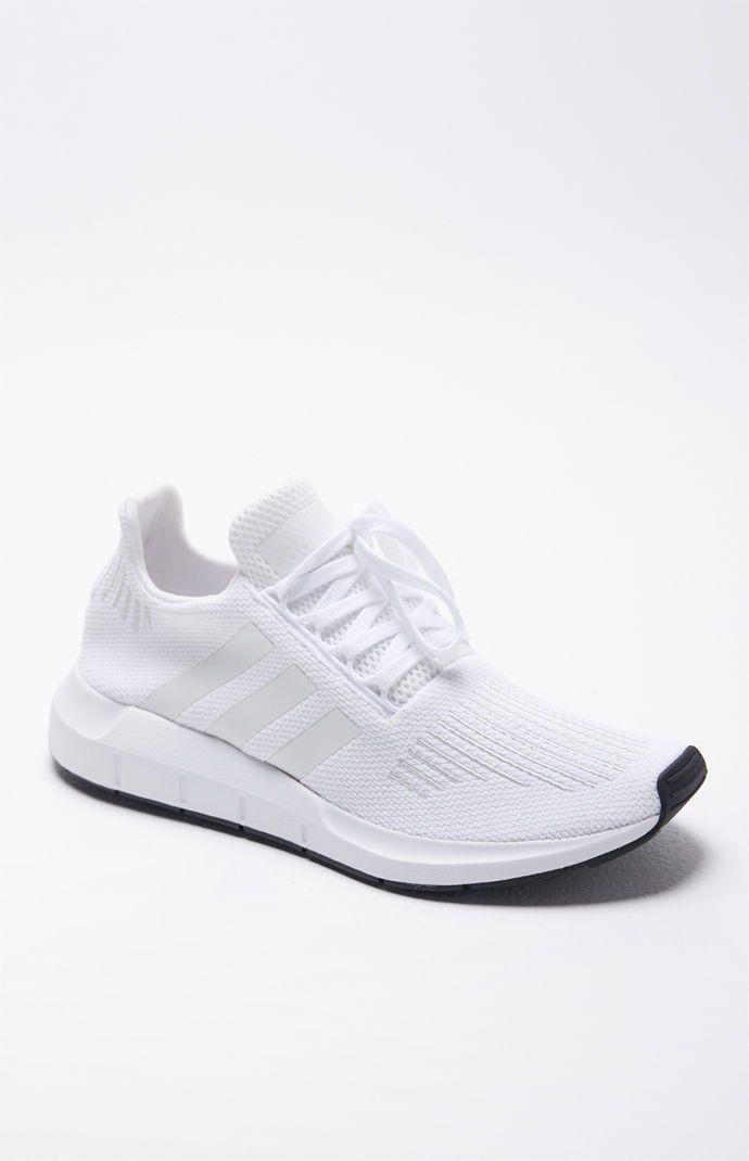 Swift Run White Shoes | Adidas white shoes, White tennis shoes ...