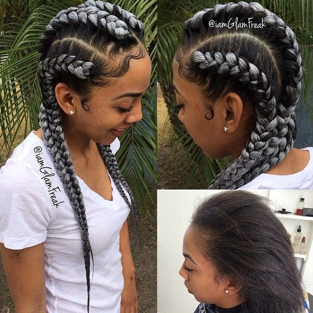 Black And Grey Cornrows Braided Hairstyles Goddess Braids