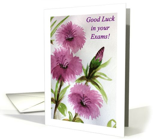 Good Luck With Exams, Handpainted Purple Flowers card #purple - best wishes for exams cards