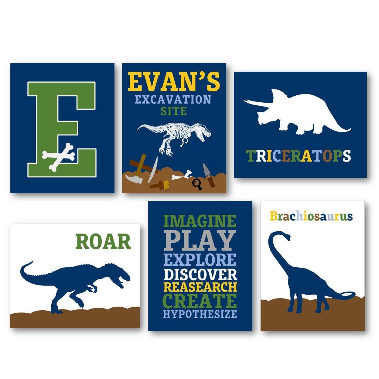 PERSONALIZED Dinosaur Wall Art, Dinosaur Decor, Dinosaur Art for Boys Room, Dino wall art in Navy Blue, Dinosaur Nursery Decor Navy Blue