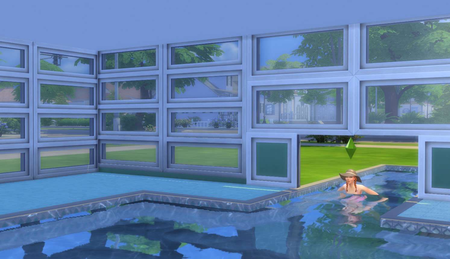 Sims 4 building how to 39 s sims can then swim under the for Pool designs sims 4