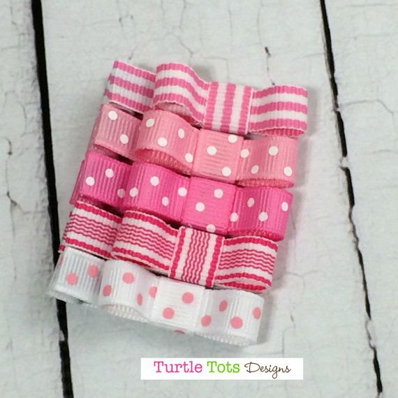 Baby Hair Clips Baby Pink Set Tuxedo Bow by TurtleTotsDesigns