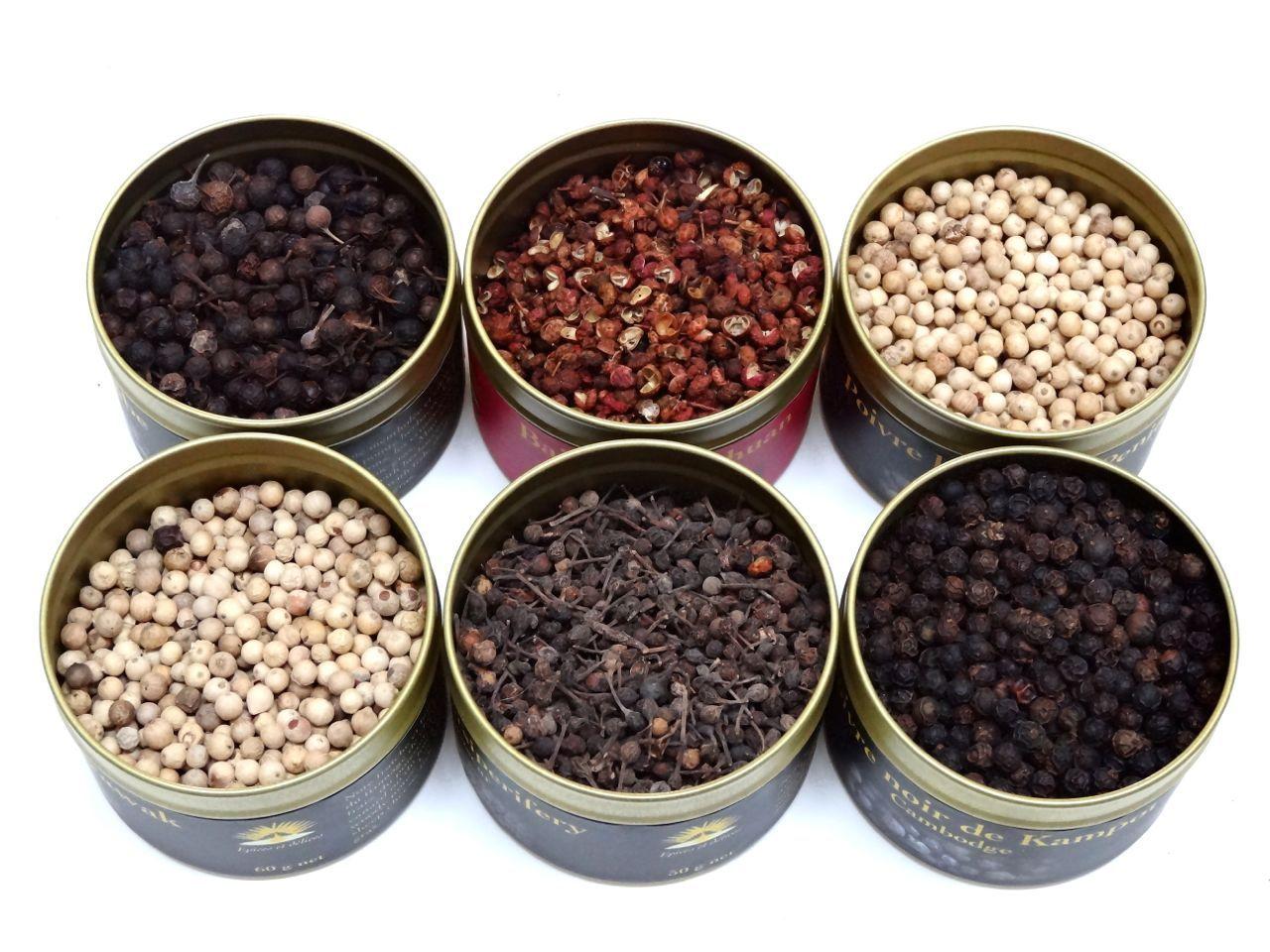 Coffret 6 poivres du monde ! Sichuan, Blanc de penja, blanc ...
