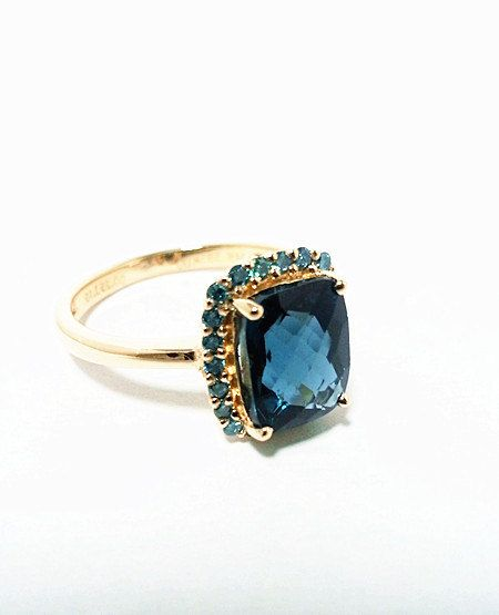 My dream engagement ring... London Blue Topaz with Blue Diamonds Ring -- 14K Yellow Gold on Etsy, $785.00