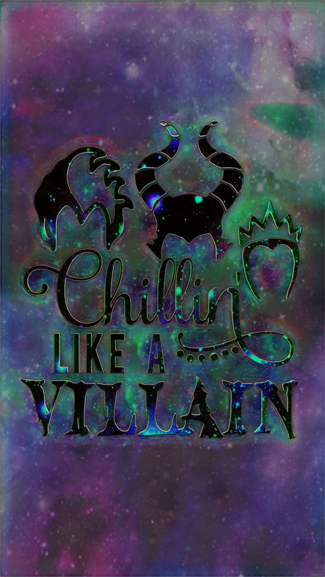 Chillin Like A Villain Galaxy Made By Me Purple Sparkly Wallpapers Background Disney Characters Wallpaper Halloween Wallpaper Backgrounds Disney Wallpaper