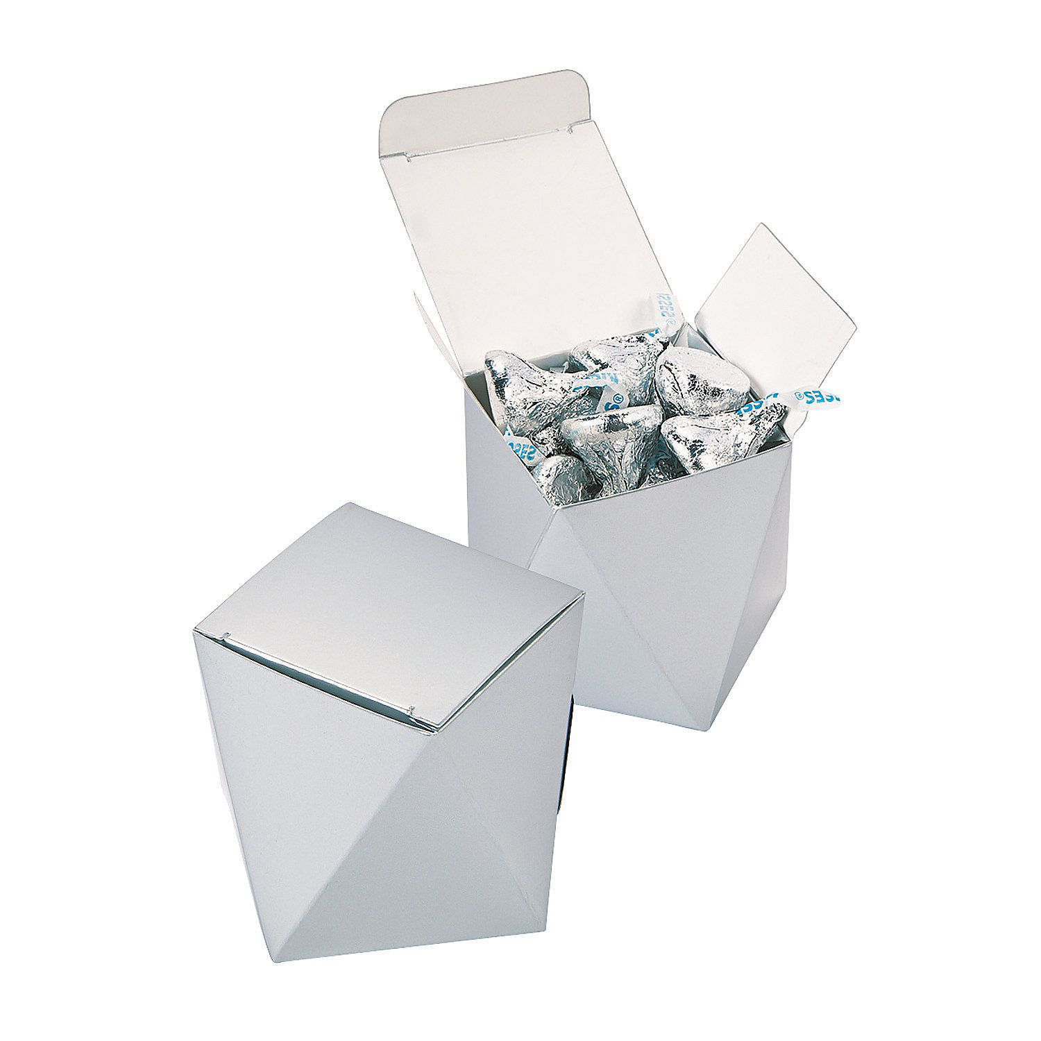 Silver Wedding Favor Boxes - OrientalTrading.com | Wedding style ...