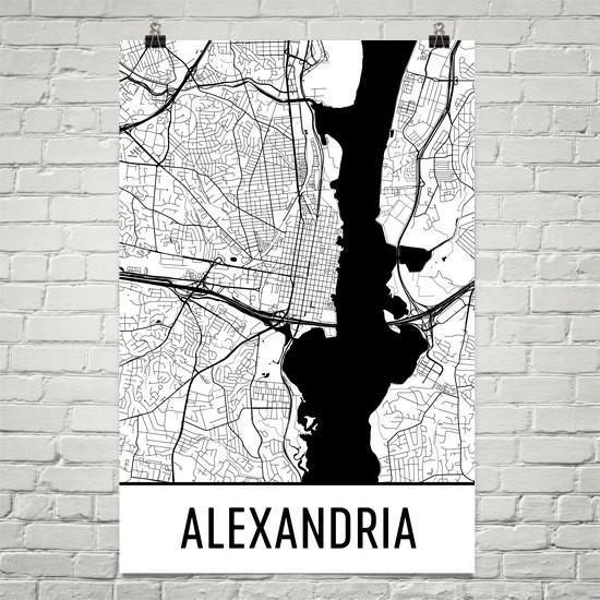Alexandria VA Street Map Poster Alexandria