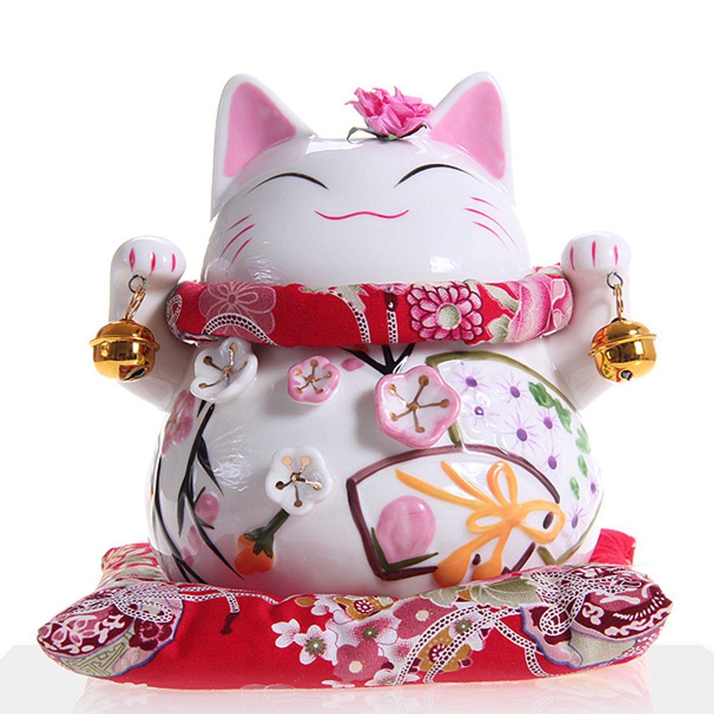 Maneki neko statue de chat japonais en porcelaine avec deux cloches feng shui porte bonheur - Porte bonheur chinois chat ...