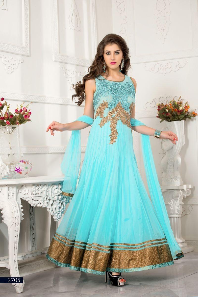 Sky Blue Net Salwar Kameez Dress Material | Salwar Kameez Suits at ...