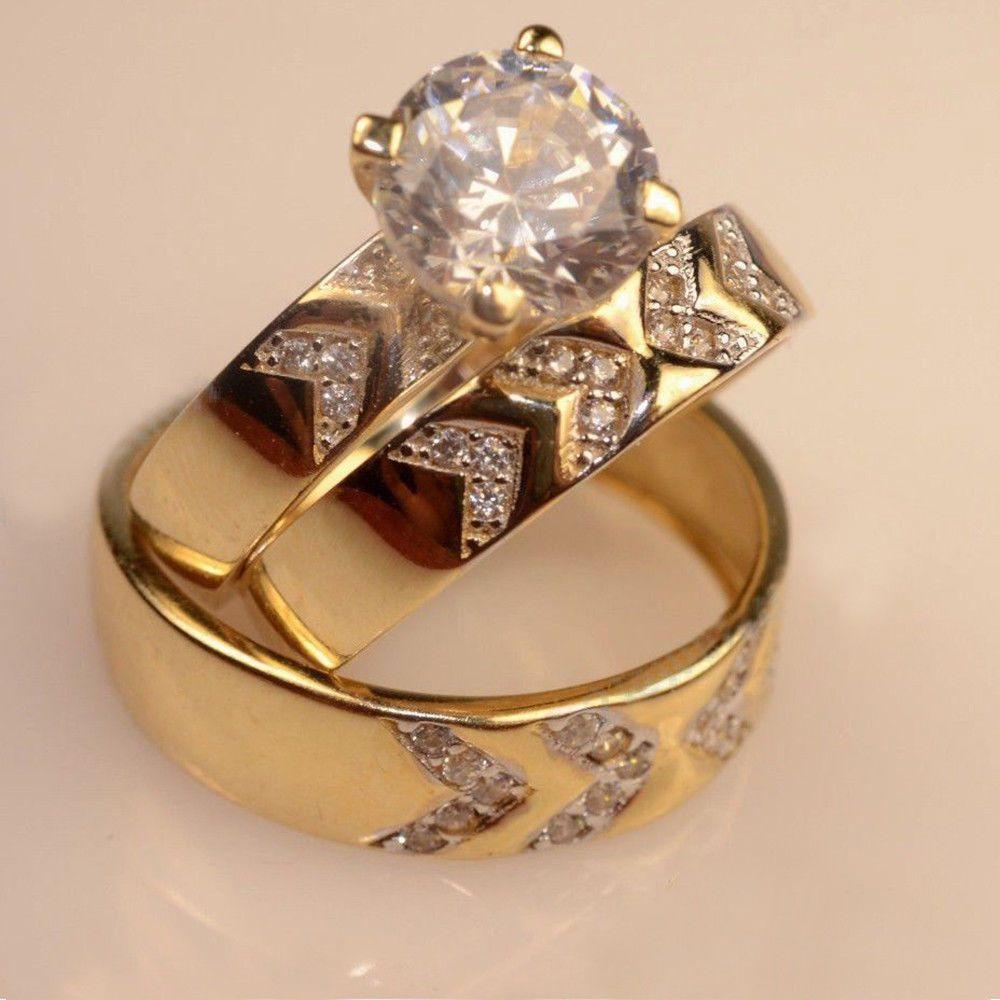 Diamond Wedding Trio Set Men Ladies Engagement Ring 14k Yellow