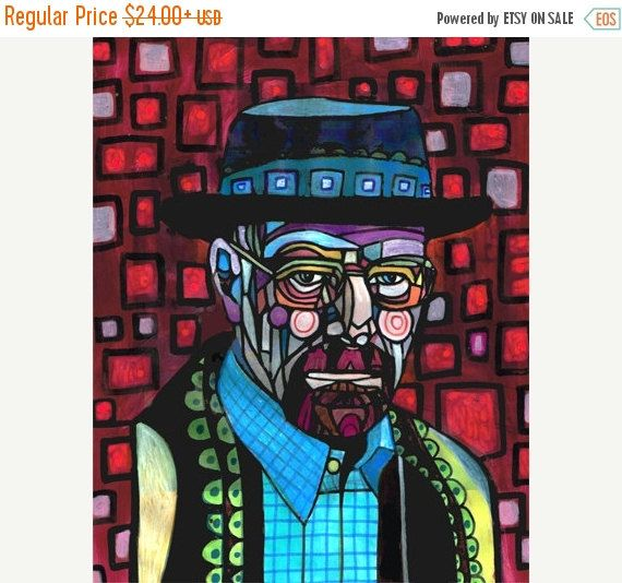 Marked Down 50% - Breaking Bad Art Poster Print of Painting Walter Modern Abstract Portrait (HG221)