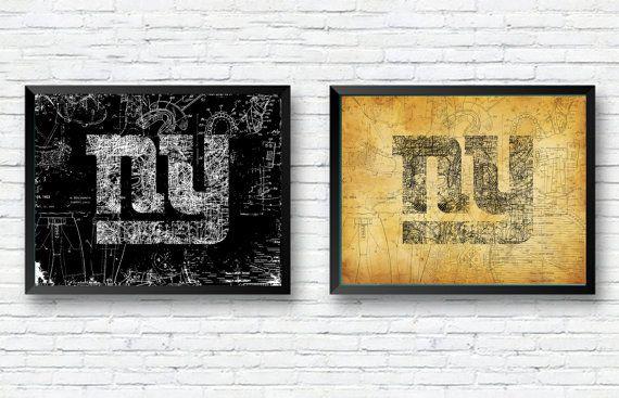 New York Giants Old School Football Blueprint Poster - NY Home Decor - new old blueprint art