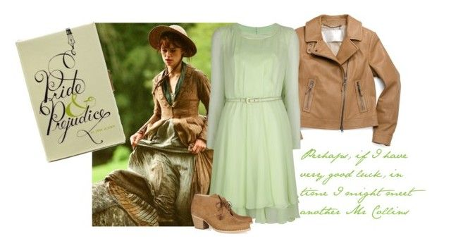 miss bennet. by tothineownselfbtrue on Polyvore featuring Oscar de la Renta, Coach, rag & bone, Kate Spade, ankle boots, belted dresses, jane austen, pride and prejudice, book clutch and motorcycle jackets