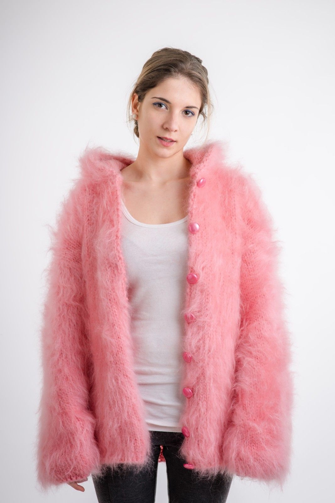 Hand knit mohair cardigan hooded jacket one size cozyknittings ...
