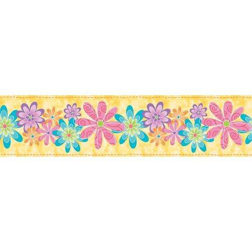 Blue Mountain Wallcoverings SR026251 Just For Kids Flirty Flowers Self Stick Wall Border