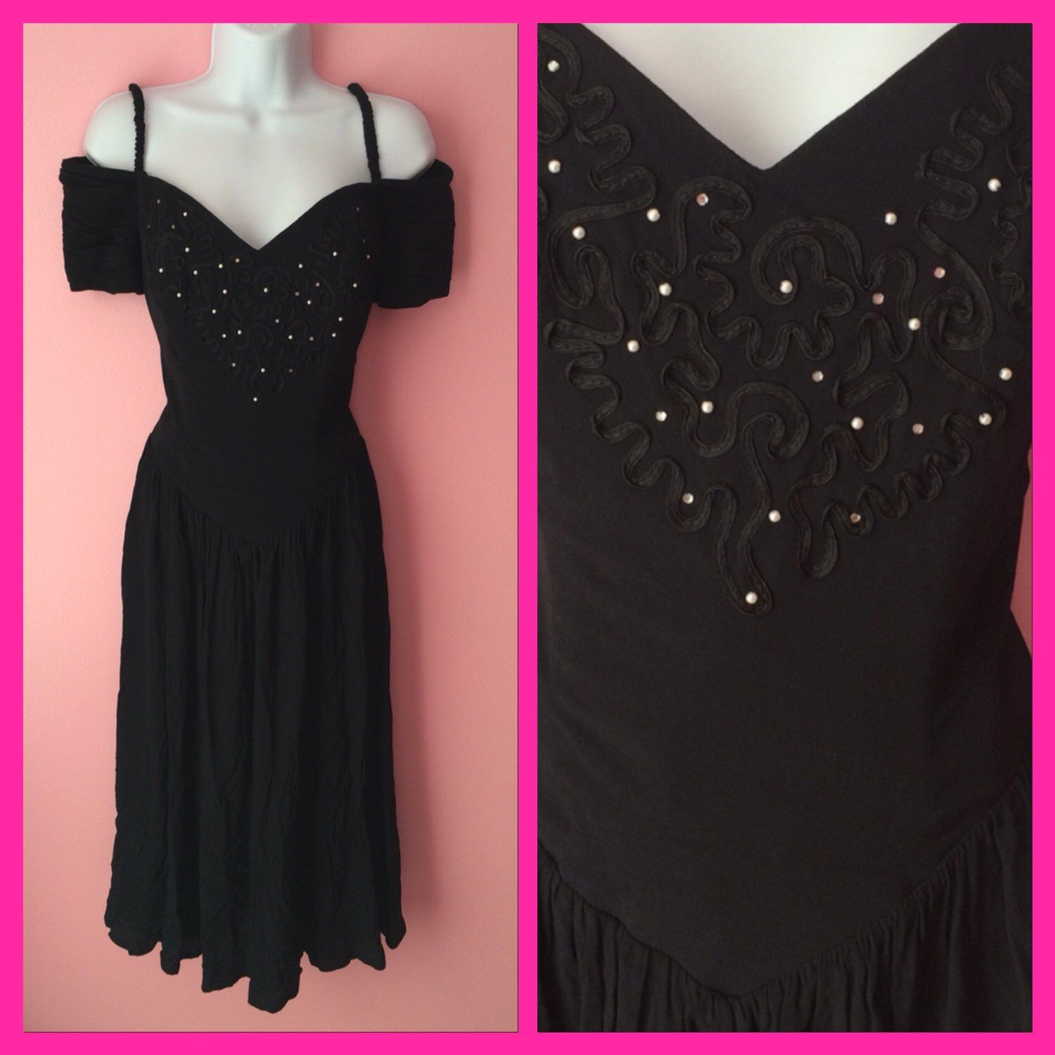 Vintage 1980s Black Ribbons and Pearls Party Prom Cocktail Dress ...