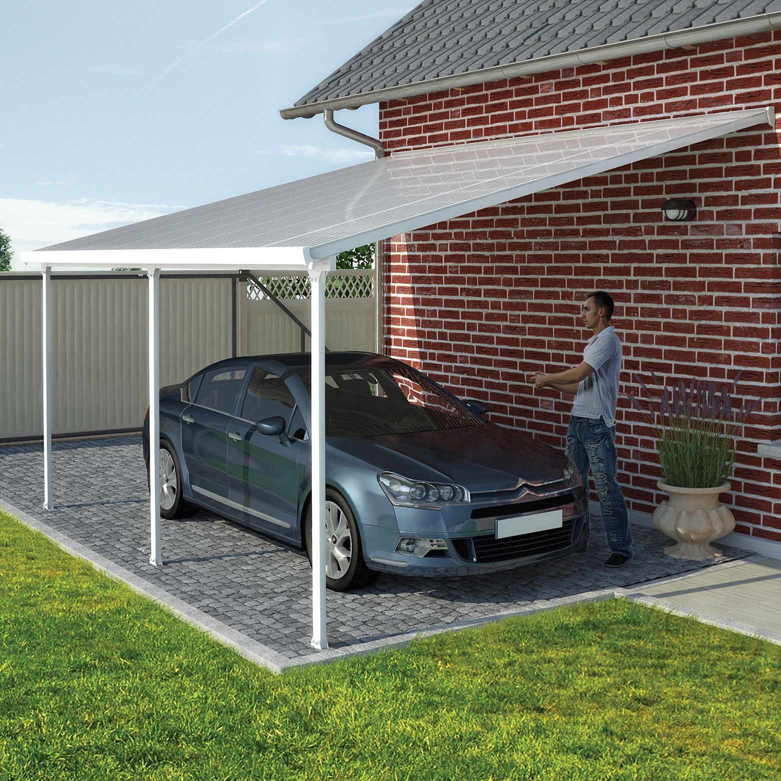 Feria 26 Ft W X 13 Ft D Plastic Standard Patio Awning Diy Carport Carport Designs Metal Carport Kits