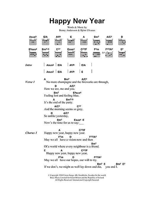 Abba Happy New Year 46689 Abba Happy New Year Lyrics And Chords