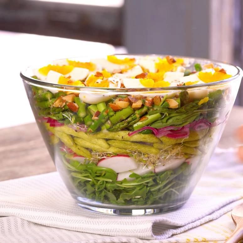 Recipe Of The Day Layered Salad With Buttermilk Dressing Gather The Best Of The Best Spring Produce For This Beaut Food Network Recipes Food Light Recipes