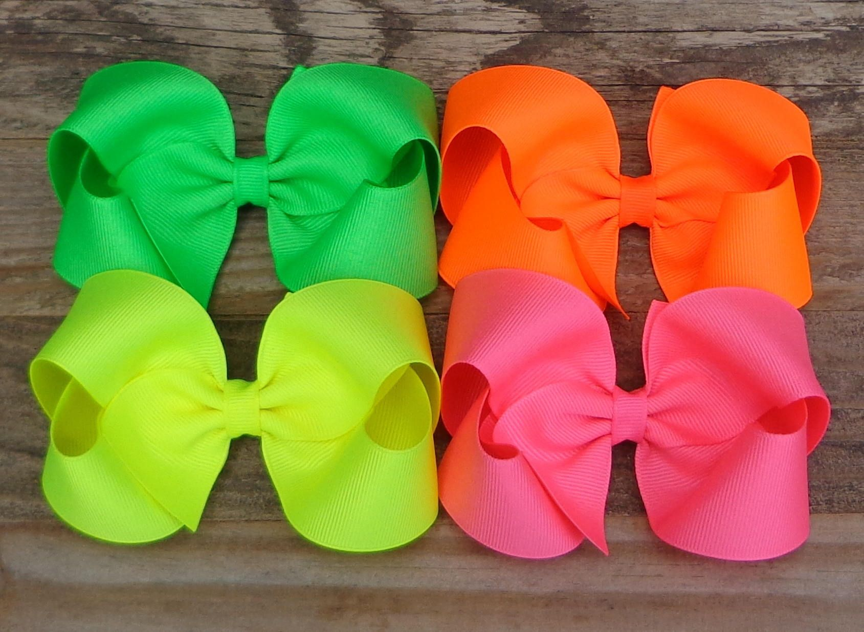 Bundle of 3 Big Bows Girls Boutique Basic Back to School Bows Classic Hairbows