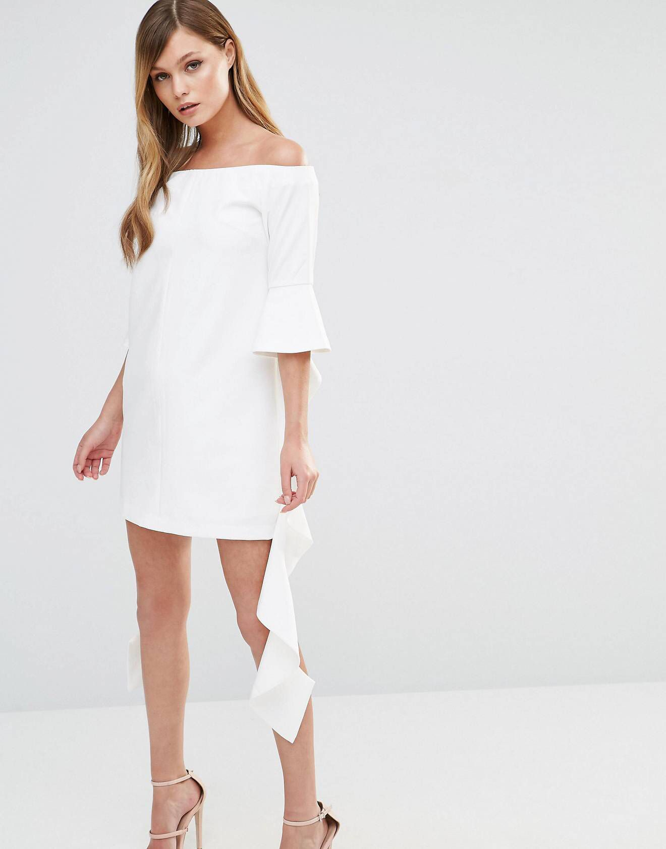 d2d771edb174 LOVE this from ASOS! Dark Pink Off Shoulder Mini Dress with Frill Sleeve  Little White ...