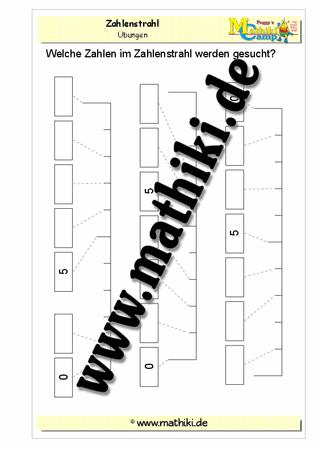 Zahlenstrahl ergänzen im Zahlenraum bis 10 - ©2011-2016, MATHiki.de ...