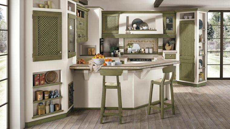 arredamento rustico per cucine in muratura bianche con ante ...