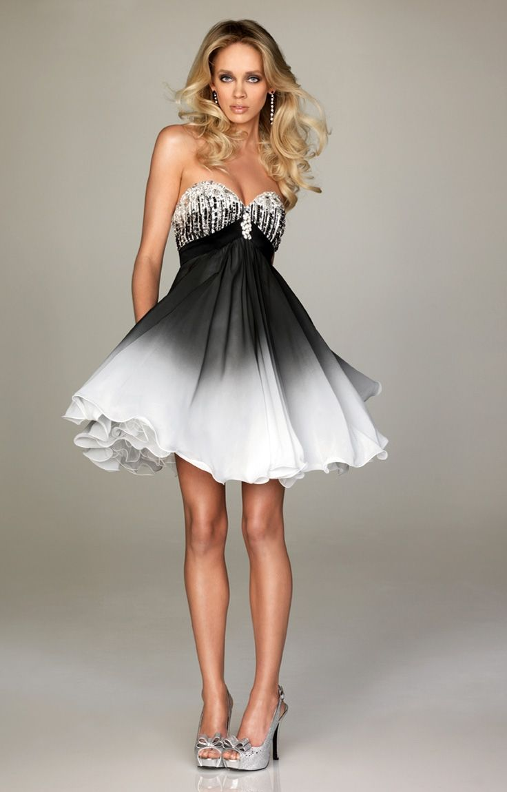 Beaded sweetheart neckline black white ombre sexy short prom dress