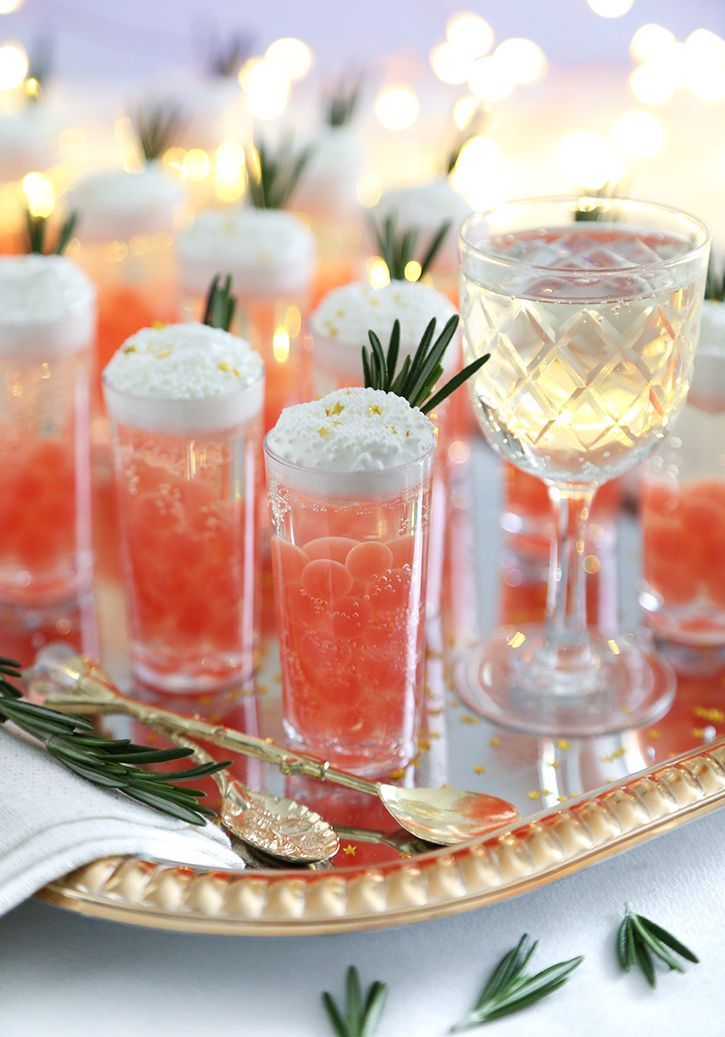 Champagne jelly shots with pomegranate bursting boba in
