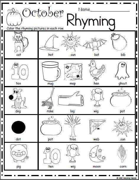 Halloween Rhyming Worksheet For The Kids Pinterest