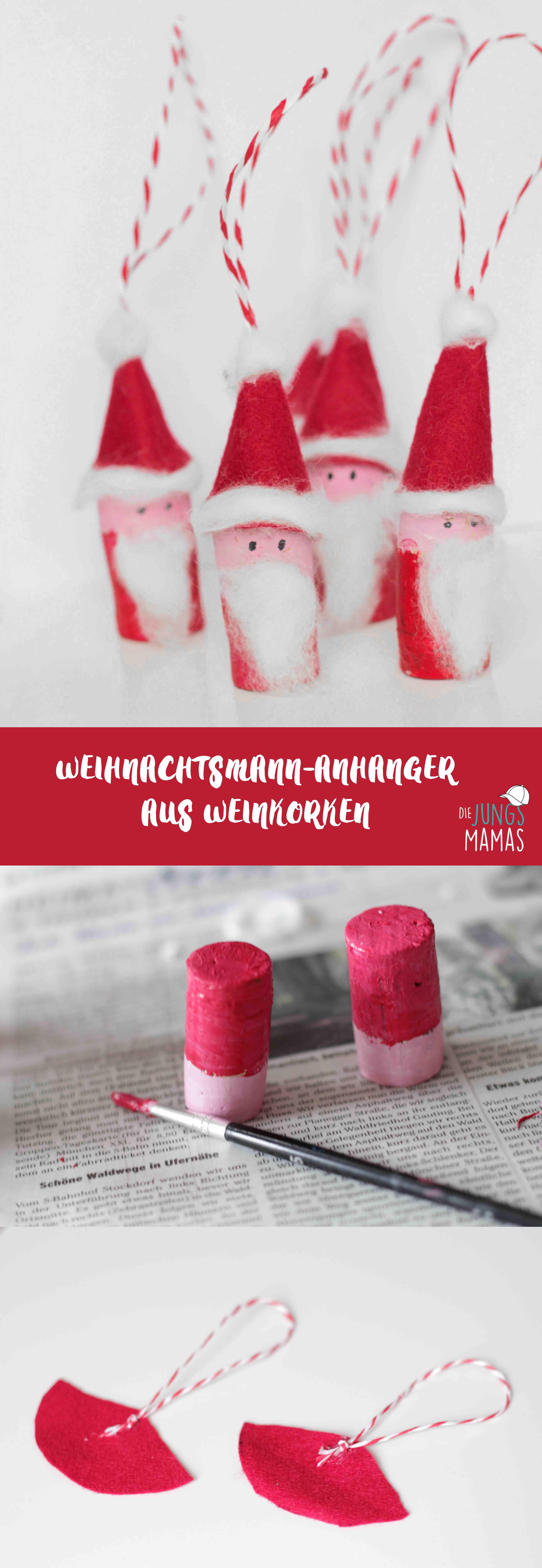 Weihnachytsmann basteln, Korken, Basteln für Weihnachten, Weihnachtsanhänger, Christbaumanhänger, die JungsMamas, christmas crafts #christbaumschmuckbastelnkinder
