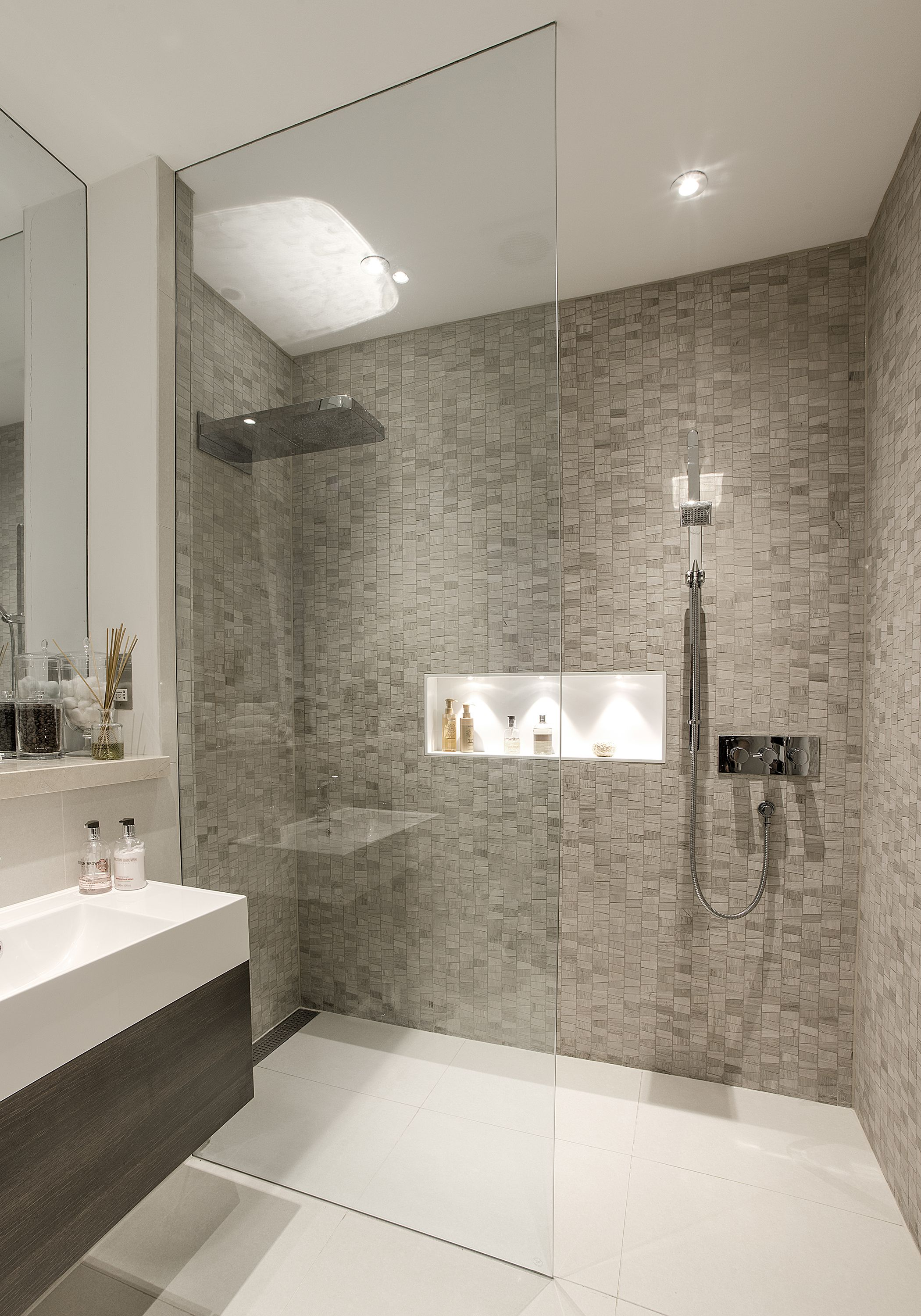 Contemporary bathrooms If shower sprays towards opening