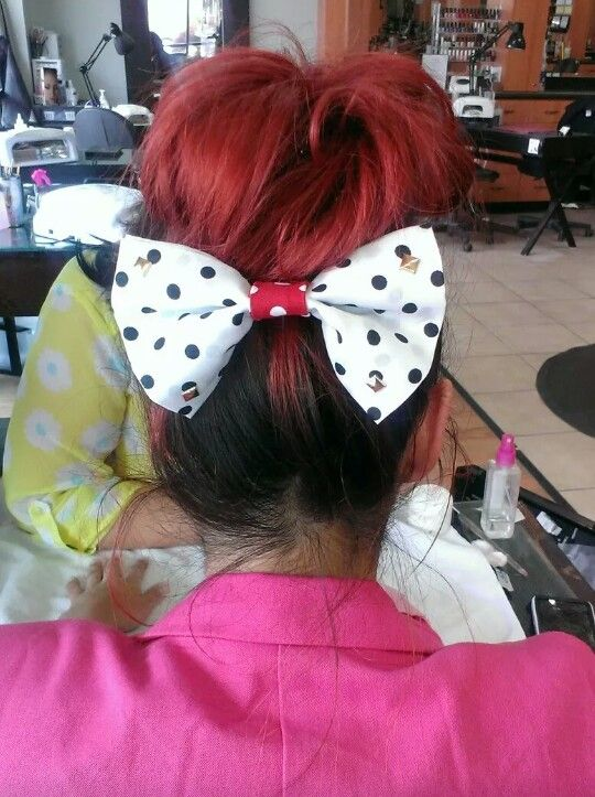 Red bun with bow